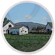 Lea Homestead Round Beach Towel by DigiArt Diaries by Vicky B Fuller