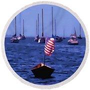 Leader Of The Pack- Bristol Rhode Island Oil Effect Round Beach Towel