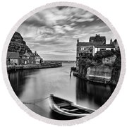 Leading Light At Staithes Round Beach Towel