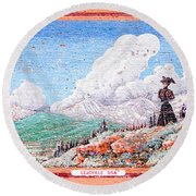 Leadville Colorado Vintage Billboard Round Beach Towel