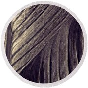 Leaf Abstract  24  Sepia   Round Beach Towel