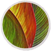 Leaf Abstract 3 Round Beach Towel
