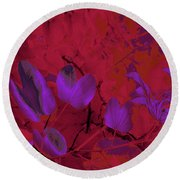 Leaf And Flower 9 Round Beach Towel