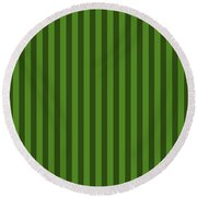 Leaf Green Striped Pattern Design Round Beach Towel