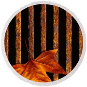 Leaf In Drain Round Beach Towel by Carlos Caetano