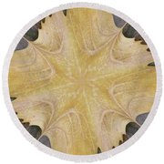 Leaf On Bricks 6 Round Beach Towel