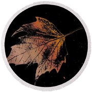 Leaf On Bricks Round Beach Towel
