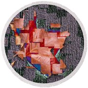 Leaf On Stone 2 Round Beach Towel