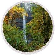 Leaf Peeping And Waterfall Round Beach Towel