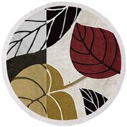 Leaf Story Round Beach Towel