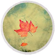 Leaf Upon The Water Round Beach Towel by Bill Cannon