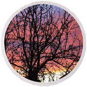 Leafless Silhouette Round Beach Towel