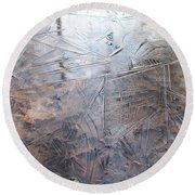 Leafs And Ice Round Beach Towel