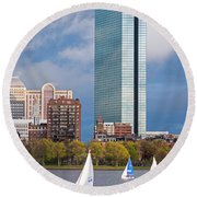 Lean Into It- Sailboats By The Hancock On The Charles River Boston Ma Round Beach Towel