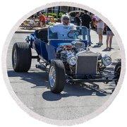 Leander Texas Car Show Riding High Round Beach Towel