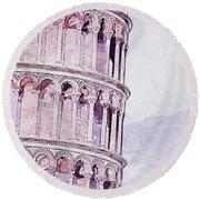 Leaning Tower Of Pisa - 03 Round Beach Towel