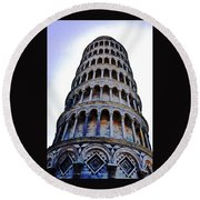 Leaning Tower Of Pisa In Tuscany, Italy Round Beach Towel