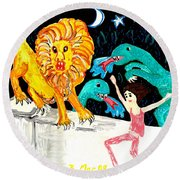 Leap Away From The Lion Round Beach Towel