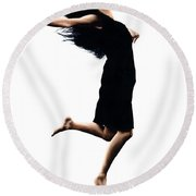 Leap Into The Unknown Round Beach Towel