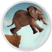 Leap Of Faith Concept Elephant Jumping Into A Void Round Beach Towel
