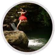 Leap Of Faith Round Beach Towel