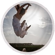 Leaping For The Sun Round Beach Towel