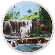 Leaping Waterfall Round Beach Towel