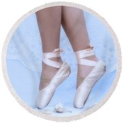 Learning To Walk In Dance World With Pink Pointe Shoes Round Beach Towel
