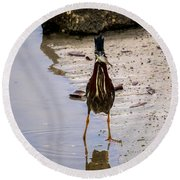 Least Bittern With A Fish Round Beach Towel