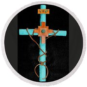 Leather And Stone Cross Round Beach Towel