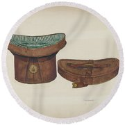 Leather Hat Box Round Beach Towel