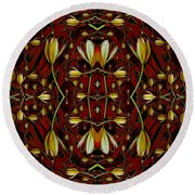 Leather In Floral Harmony And Peace Round Beach Towel
