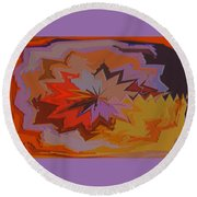 Leaves Abstract - Autumn Motif Round Beach Towel
