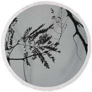 Leaves Against A Grey Sky Round Beach Towel