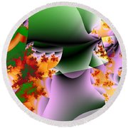 Leaves And Carpels Round Beach Towel