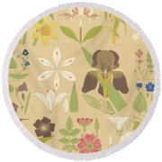 Leaves And Flowers From Nature Round Beach Towel