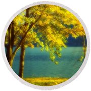 Leaves And Light Round Beach Towel