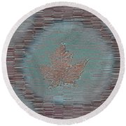 Leaves And Rain 7 Round Beach Towel