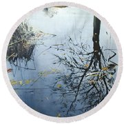 Leaves And Reeds On Tree Reflection Round Beach Towel