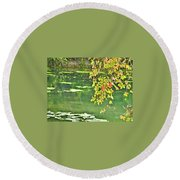 Leaves And Water Round Beach Towel