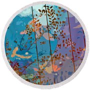 Leaves And Wire Round Beach Towel