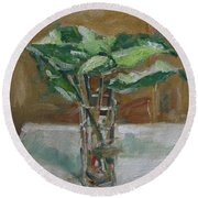 Leaves In A Tall Glass Round Beach Towel