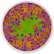 Leaves In Fractal 2 Round Beach Towel