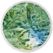 Leaves In Water Round Beach Towel