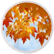 Leaves Nature Art Orange Autumn Tree Leaves Round Beach Towel