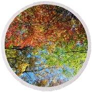 Leaves Of All Colors Round Beach Towel