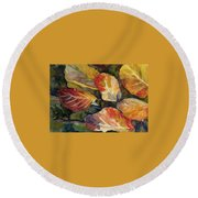Leaves On A Pond Round Beach Towel