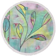 Leaves On Abstract Background Round Beach Towel