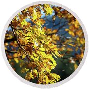 Leaves On Fire Round Beach Towel