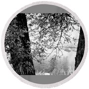 Leaves Over The River Round Beach Towel